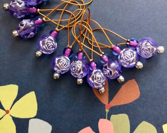 stitch markers knitting stitch markers retro knitting notions purple markers gifts for knitters PARMA VIOLET