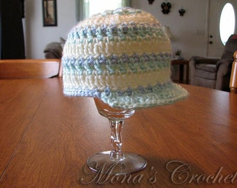 Hand Crocheted Baby Boy Pastel Newsboy Hat | Baby Hat | Newsboy Hat | Baby Shower Gift - Yellow, Green and Blue - Size 3 to 6 Months