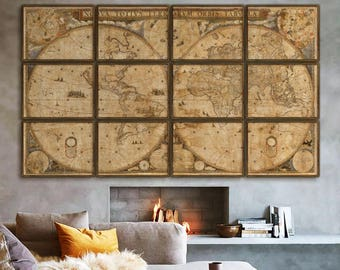 Extra Large World map 1648, Huge baroque map of the World, in 4 sizes up to 11 ft wide (320 cm) in 1 or 12 parts - Limited Edition of 100