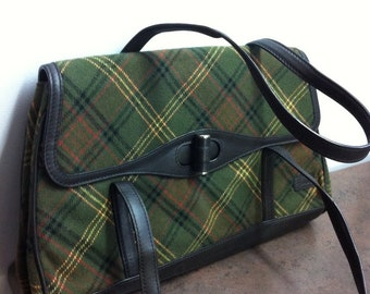 Vintage Purse - Harrods of London - Signature Plaid with Leather Trim - Womens Handbag - Gift for Her