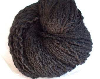 Pure Wool Recycled Yarn, Black, Bulky Weight, 211 Yards