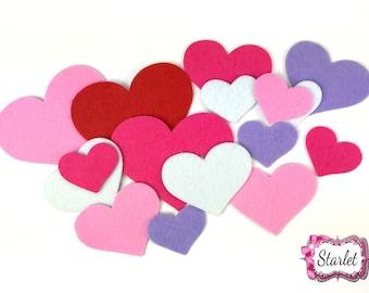 Valentine Heart Felts, Mix Heart Felts, Valentine Felt Pack (Set #2)