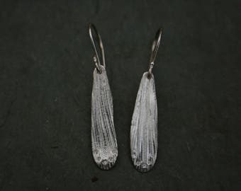 fine silver gingko textured earrings with cubic zirconia