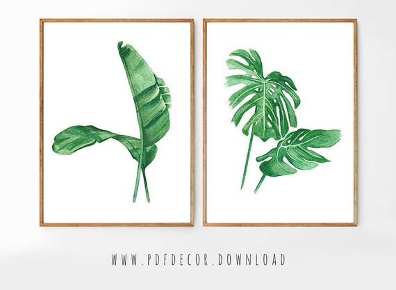 Set of 2 Tropical Prints, Set of 2 Prints, Set of 2 Wall Art, Set of 2 Watercolor, Set of 2 Tropical Prints, Watercolor Art, Tropical Decor
