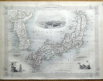 JAPAN & COREA, KOREA, Rapkin Tallis original antique illustrated map 1851