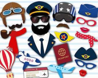 Instant Download Airplane Party Photo Booth Props, Pilot Aviator Props, Airplane Pilots Photo Booth Props, Pilot Photo Booth Props, 0351