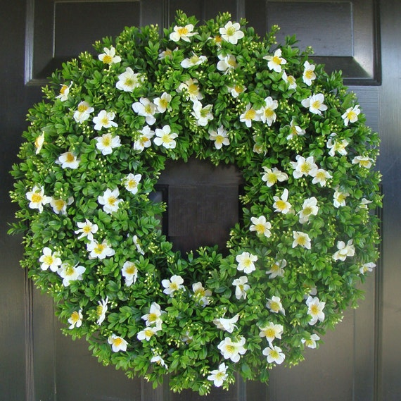 Housewarming Gift, Outdoor Decoration, Cottage Chic Door Wreath, 22 inch boxwood wreath (shown) silk flowers, Gift
