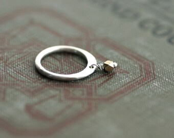 Sterling Ring with Brass Bead Accent
