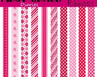 Valentine Ribbons Digital Clip Art --Buy 2 GET 1 FREE