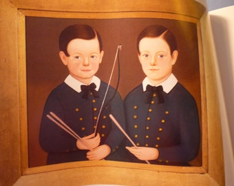 Folk Art Portrait - John Somes and William Collins Dolliver by William M Kennedy 1848