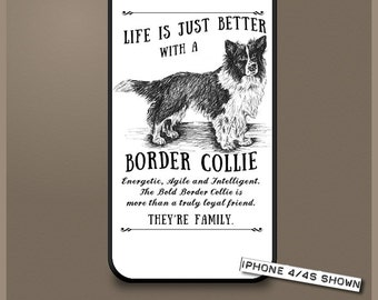Border Collie dog phone case cover iPhone Samsung ~ Can be Personalised