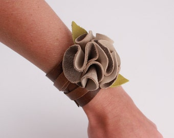 Wide Distressed Leather and Nubuck Flower Cuff Bracelet
