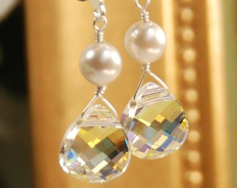 Crystal Dangle Earring, Crystal Earring for Bride or Bridesmaid, Wedding Earring, Swarovski Crystal Flat Briolette & Pearl, Sterling Silver