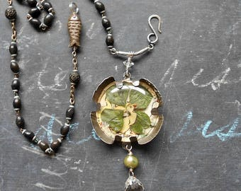 Lucky Duck Rosary Assemblage Necklace