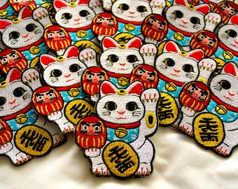 Lucky Cat / Maneki Neko Iron-on Patch
