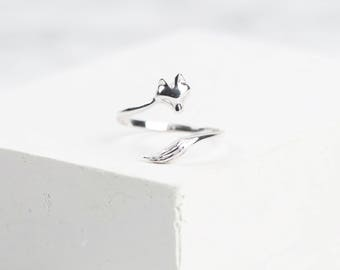 Sterling Silver Fox Ring • Adjustable Ring • Wraparound Ring • Adjustable Fox Ring • Fox Jewellery • Dainty Sterling Silver Ring