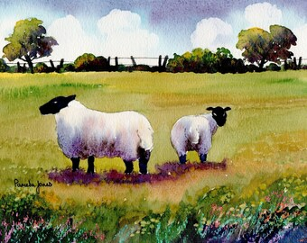 Watercolour Print, Sheep, in, Meadow, Wales, 14ins x 11ins, Father's Day Gift, Art and Collectables, Home and Living, Wall Art