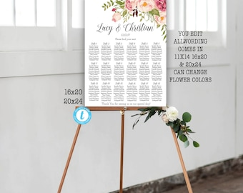 Wedding seating chart etsy quick view floral wedding seating chart junglespirit Gallery
