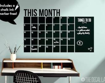 Wall Decal Calendar - Free Chalk Ink Marker - Monthly Chalkboard Calendar Wall Decal - CHK-MCAL3