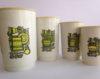 SALE!! Vintage 1970's Canister Set / 4 Piece Canister Set for Flour, Coffee, Tea, and Sugar