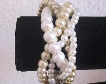 Ivory and Champagne Pearl Bracelet Chunky Pearl Bracelet Multi Strand Wedding Bracelet Bridal Statement Bracelet Bridesmaid Bracelet Gift