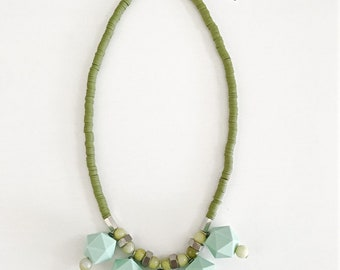 Chunky mint necklace, geometric beads necklace, green polymer clay discs, mint beaded necklace, big beads necklace, Nulika