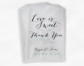 Love Is Sweet Our Day Complete Wedding Candy Buffet Treat Bags - Handwritten Favor Bags in Robins Egg Blue - Custom Paper Bags (0169)