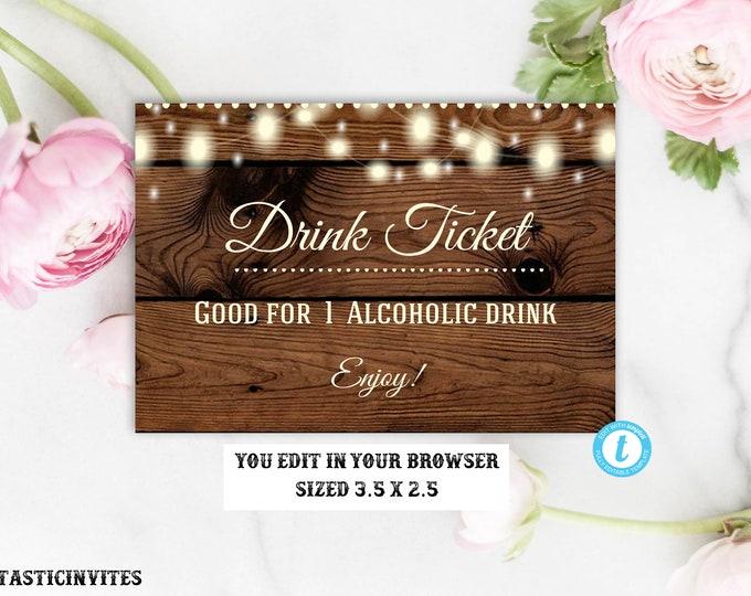 Drink Ticket Template, Rustic Drink ticket, Alcoholic Drink Ticket, Wedding Drink Ticket, Rustic Invitation, Template, Wedding Bar Ticket