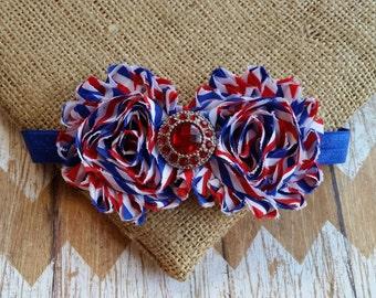 Red white blue headband, baby headband, toddler headband, patriotic headband, July 4th headband, Memorial Day headband, USA headband