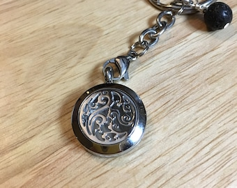 EO Keychain, Stainless Steel, Essential Oils, Lava Diffuser, EO Locket, Oil Pendant, Oil Diffuser, Diffuser keychain, Essential Oil Keychain