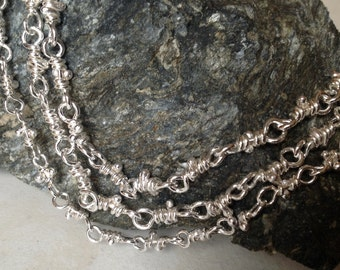 Handmade Sterling Artisan Chain Necklace, Sterling Silver Handcrafted Wire Wrapped Link Chain Necklace in Varying Lengths