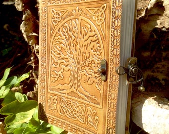 Leather Rustic Journal - Tree of Life Sketchbook - Handmade Notebook - Embossed Celtic Journal - Leather Travel Book - Adventure Journal
