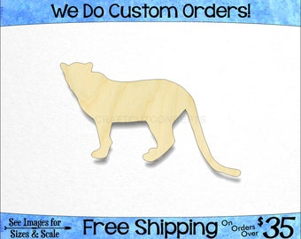 Leopard Cheetah Big Cat Shape - African Wildlife - Large & Small - Pick Size - Unfinished Wood Cutout Shapes Jungle (SO-0029-02)*2-36
