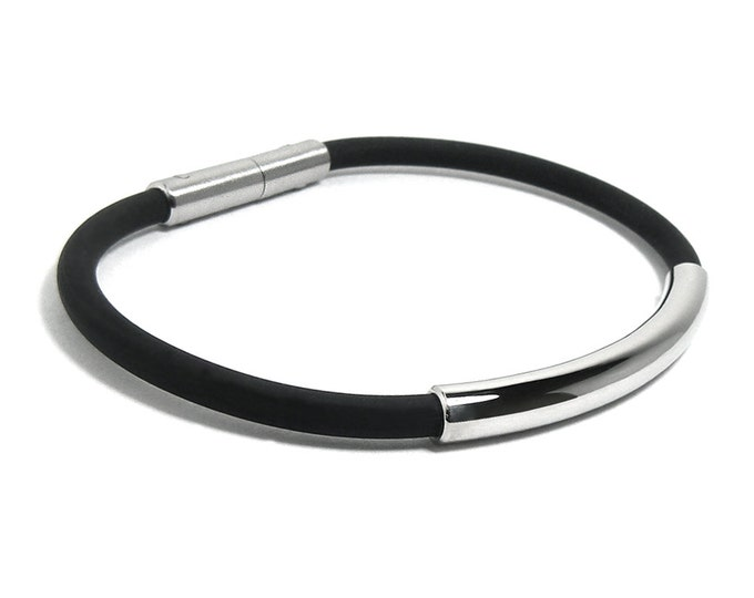 Men's Bracelet Black Rubber Stainless Steel - 5mm rubber 6mm center tube