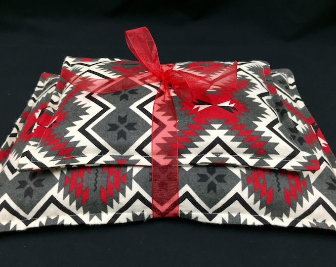 Flannel Corn Heating Pad Set, Microwavable Corn Bags, Hot Cold Therapy Packs, Pendelton Look, Southwest Print, Cabin Decor, Minnesota Made