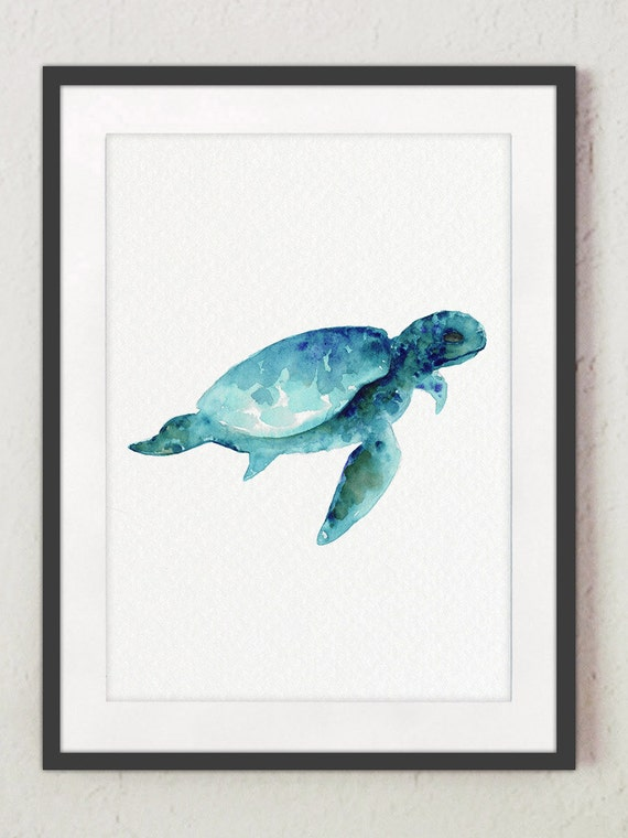Sea Turtle Wall Art Print Giclee Watercolour Painting