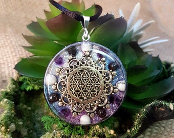INNER PEACE Orgone Pendant – Howlite, Hematite and Amethyst - Decrease stress and anxiety, increase peace, mindfulness and calm - Large