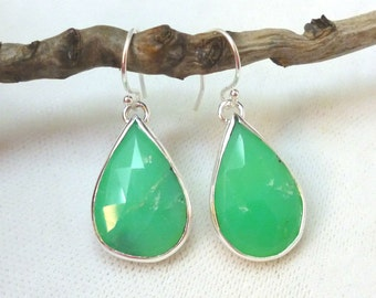 Rose Cut Chrysoprase and Sterling Silver Earrings ***SALE*** .. Chrysophrase Earrings .. Apple Green
