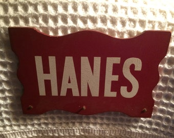 Vintage Hanes Advertising Pressed Wood Sign Primitive Rustic Man Cave Decor Kitschy Funky Decor