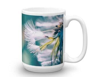Ceramic Dandelion Mug, Teal Blue Coffee Mug, Unique Coffee Cup, Flower Cup, 11oz and 15oz Coffee Mug, Made in the USA, Microwave Safe Mug