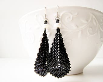 Large Black Teardrop Earrings with Pearls, Sterling Silver hooks, Stitched by hand,