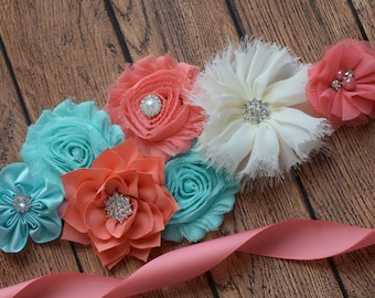Sash, Aqua , coral and ivory Sash, #2 , flower Belt, maternity sash