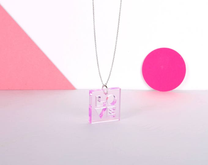 Cute pink transparent mini LOVE typographic acrylic necklace