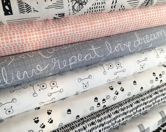 Woodland Nursery, Nest Fabric, Baby Shower Gift, Quilt or Apparel Fabric, Black White Decor, Bear, Art Gallery Fabric- Fabric Bundle of 8