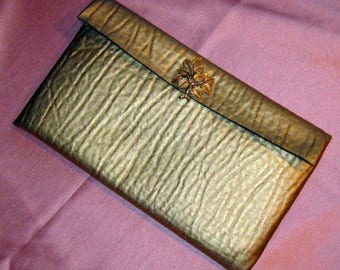 Upcycled Gold Pleather Clutch with Brooch