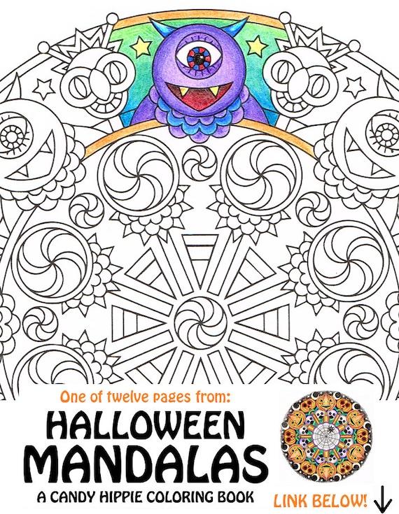 Items similar to Halloween Mandala Coloring Page - Henson\'s Henchmen ...