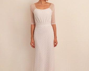 Boho wedding dress, retro wedding dress, elegant wedding gown, romantic wedding gown, simple wedding dress, backless wedding dress,