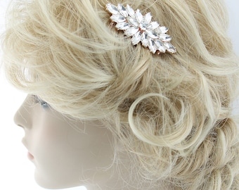 Rose Gold Bridal Hair Comb, Wedding Hairpiece, Vintage Bridal Hair Clip, Wedding Hair Accessory, Rhinestone Bridal Clip Comb