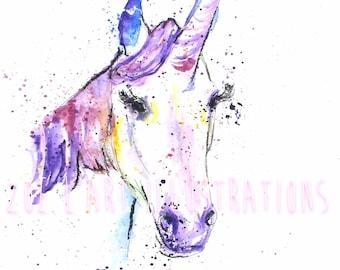 Watercolour Unicorn Illustration