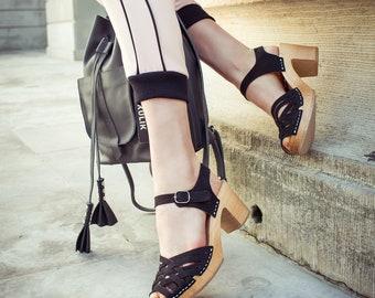 Black leather Clog | Kulikstyle | Swedish Clogs | Sandals | clog sandals |sweden clog | clog sandal, women clogs, wooden clogs | Black